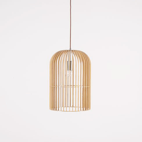 Wooden bird cage pendant light