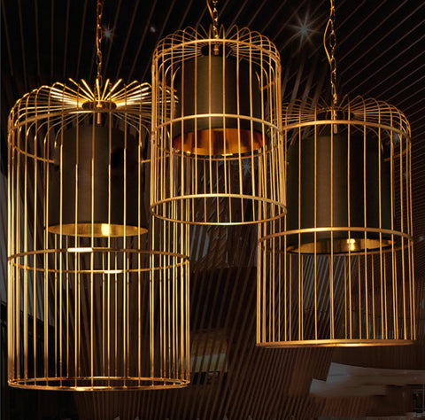 Bird Cage With Black Shade Pendant Light