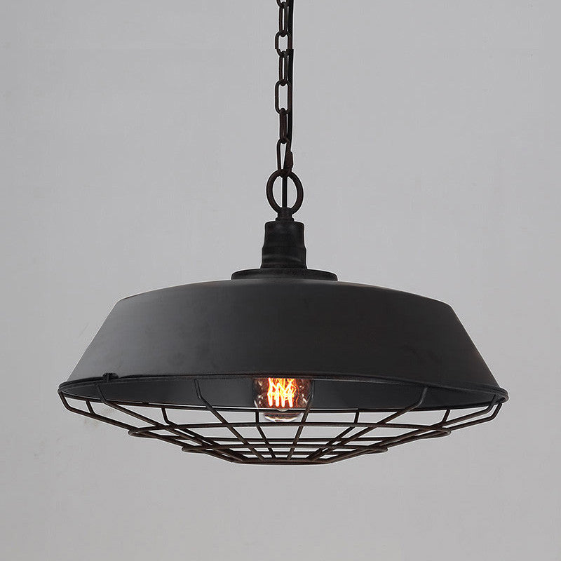 Old Industrial Pendant Light: Black Industrial Cage Pendant Light