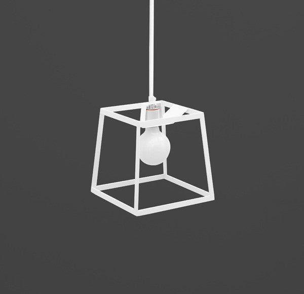 Cube Box Frame Pendant Light - white