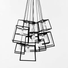 Cube Box Frame Cluster chandelier - black