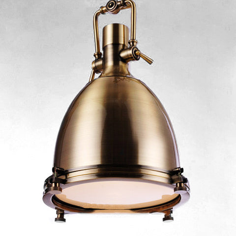 Polished Bronze Industrial Vintage Pendant Light