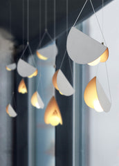 White glider pendant light chandelier studio image 4