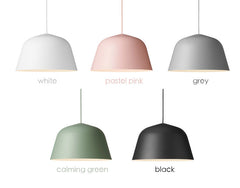 Ambit pendant light colour options: white, pink, grey, green and black