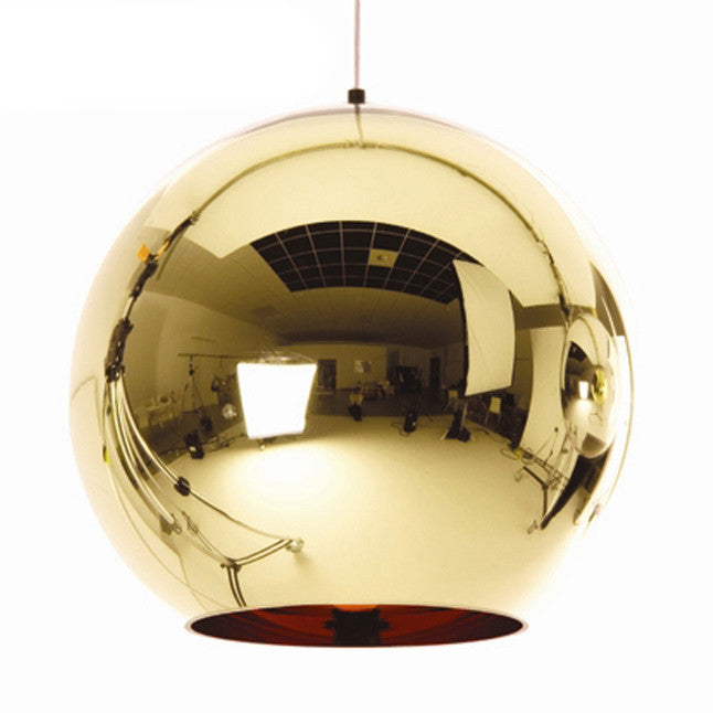 Gold shade mirror ball pendant Light