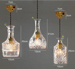 Lee Broom Replica Decanter Glass Fabric Cord Pendant Light