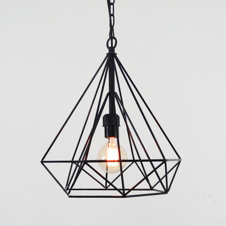 geometric diamond wire cage pendant light tudo co tudo