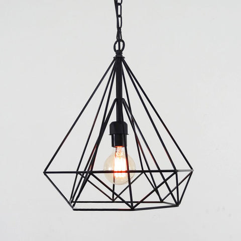 Designer and industrial loft lights affordable lighting online store geometric diamond wire cage pendant light aloadofball