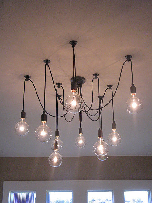 10 light adjustable cable chandelier black tudo and co tudo and co 10 light cable hanging pendant in black mozeypictures Images