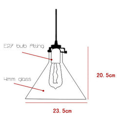 Cone Glass Lamp Shade Pendant Light - measurements