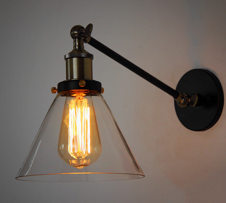 Glass Cone Shade Wall Light Industrial Retro Styled