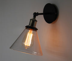 Glass Lamp Shade Wall Sconce Light With Short Arm