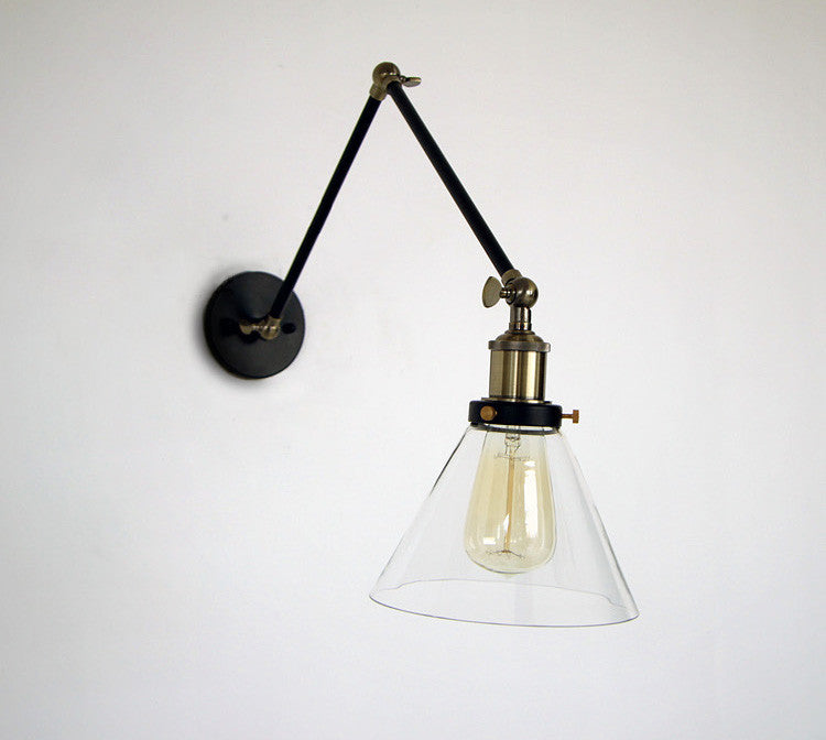 Glass cone shade wall light industrial retro styled for Lampe murale salle de bain