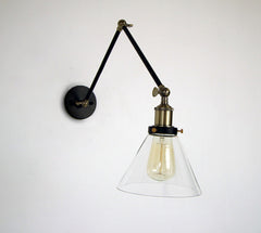 Glass Lamp Shade Wall Sconce Light With Long arm