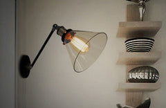 Glass Lamp Shade Wall Sconce Light With articulating arm