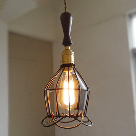Industrial Loft Pendant Light With Wooden Handle