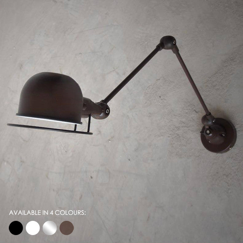 Fotis Long Arm Industrial Rustic Wall Light with articulated arm