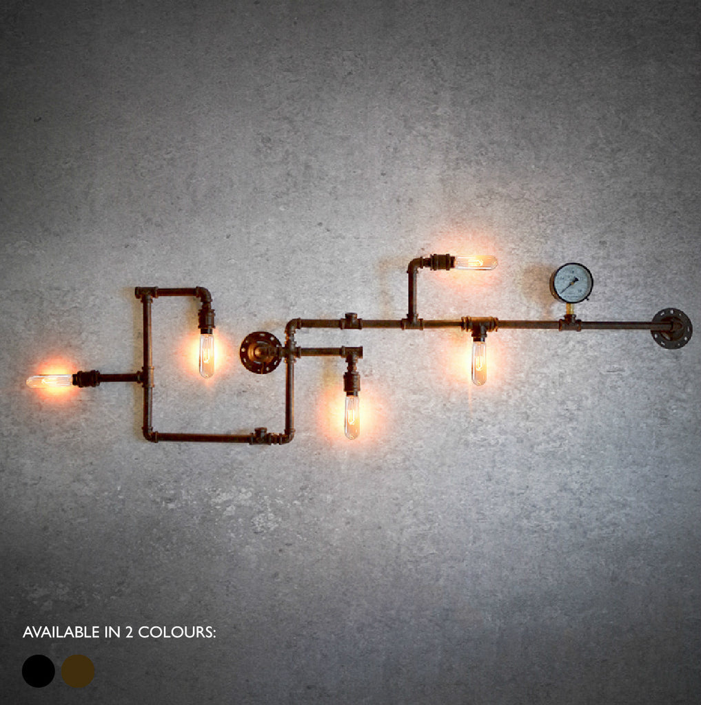 Steampunk water pipe iron wall light with Edison Bulbs