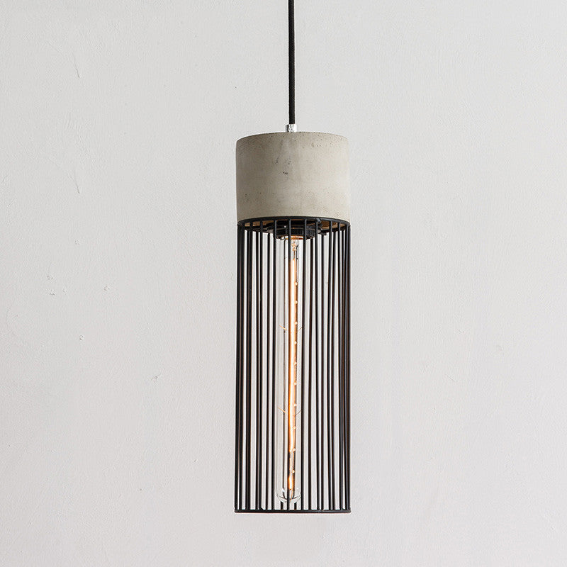 Best Long Pencil Concrete Cement Steel Cage Pendant Light – Tudo And Co JY86
