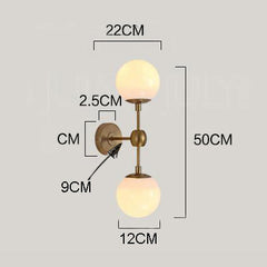 Brushed brass frost bulb wall light sconce measurements