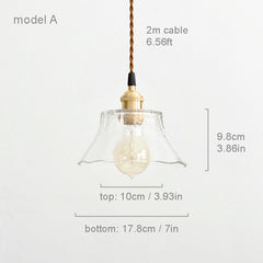 Petunia glass mid century pendant light model A measurements