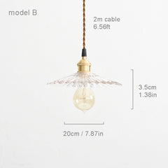 Petunia glass mid century pendant light model B measurements