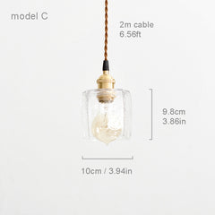Petunia glass mid century pendant light model C measurements
