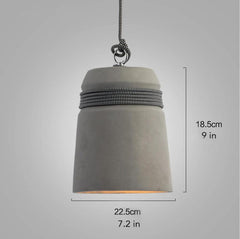 Concrete Cord wrapped Monolith Minimalist Pendant Light with zigzag cord