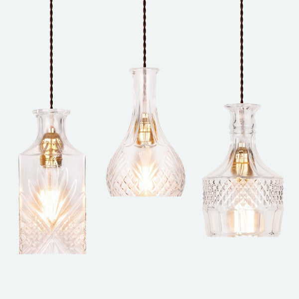 Cut glass bottle Pendant Light
