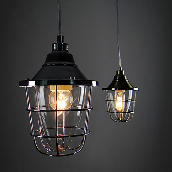 Oxford Metal And Glass Cage Industrial Pendant Light