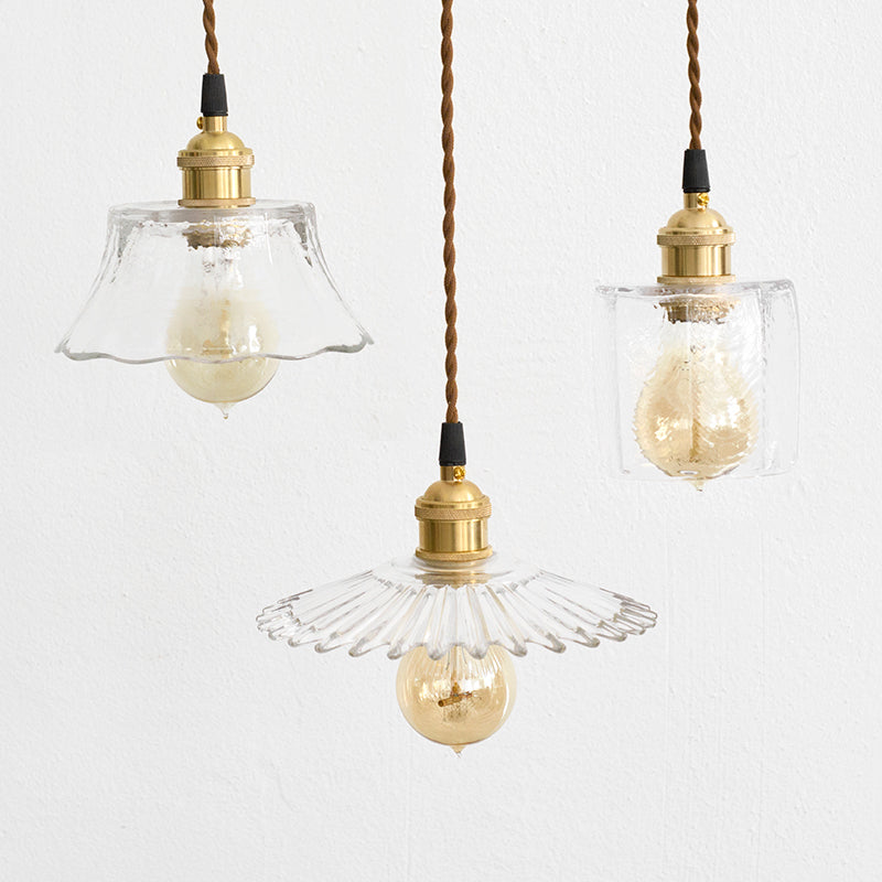 Petunia glass mid century pendant light