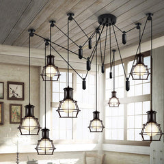 Multi head Work Lamp Cage Chandelier - 8 heads