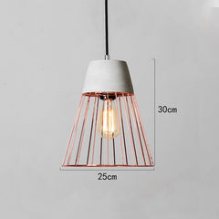 Sangkar Rose gold Cage Pendant Light With Concrete Base