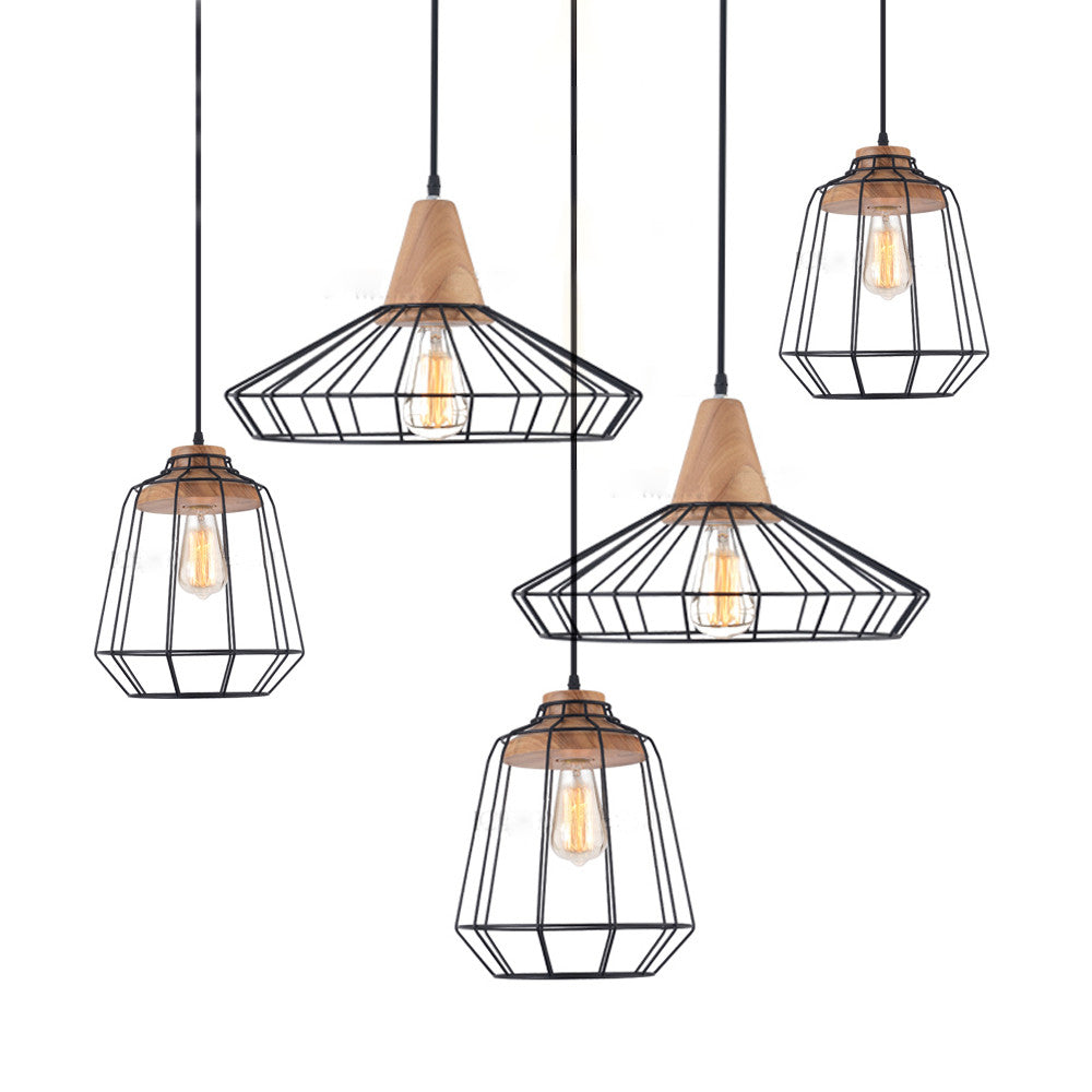 Sangkar Metal Cage Pendant Light With Wood Base  sc 1 st  Tudo And Co : lighting cage - www.canuckmediamonitor.org