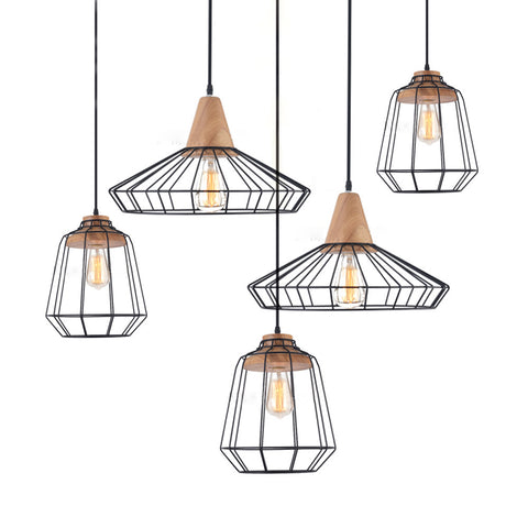 Sangkar Metal Cage Pendant Light With Wood Base
