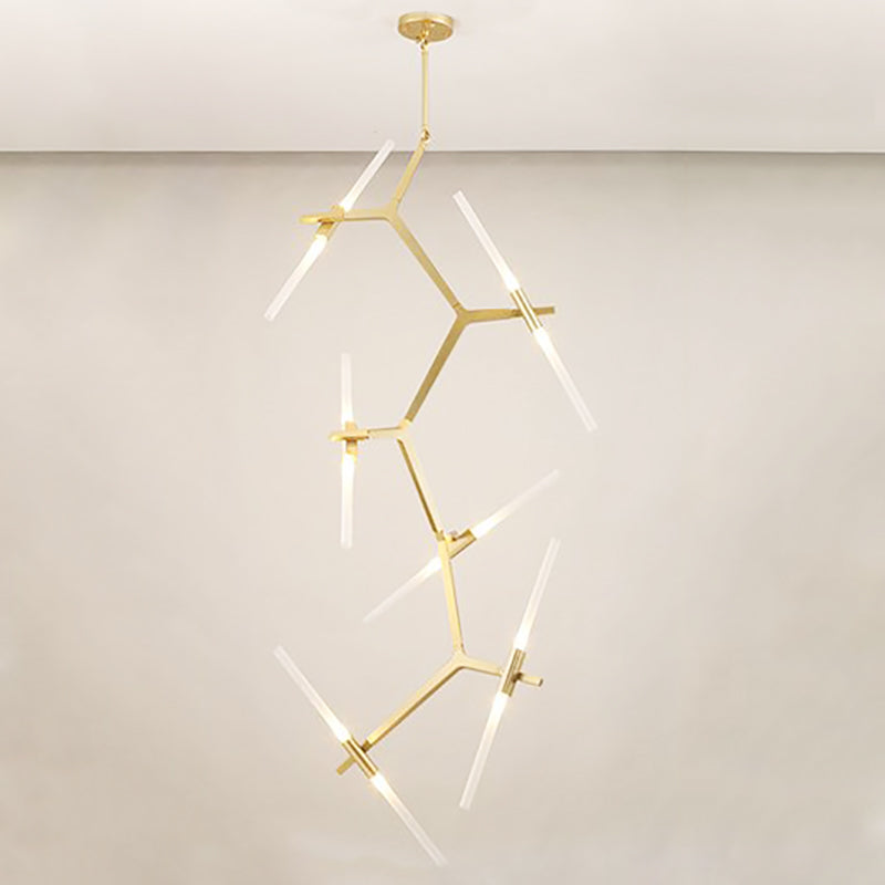 Tenere Tree Contemporary Designer Ceiling Pendant Light 10 head in gold - 14 head vertical