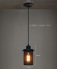 Black Mesh Cylinder Industrial Loft Pendant Light measurements