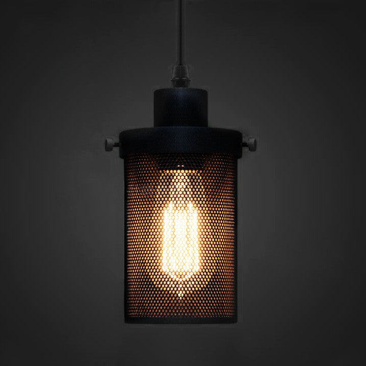 Black Mesh Cylinder Industrial Loft Pendant Light