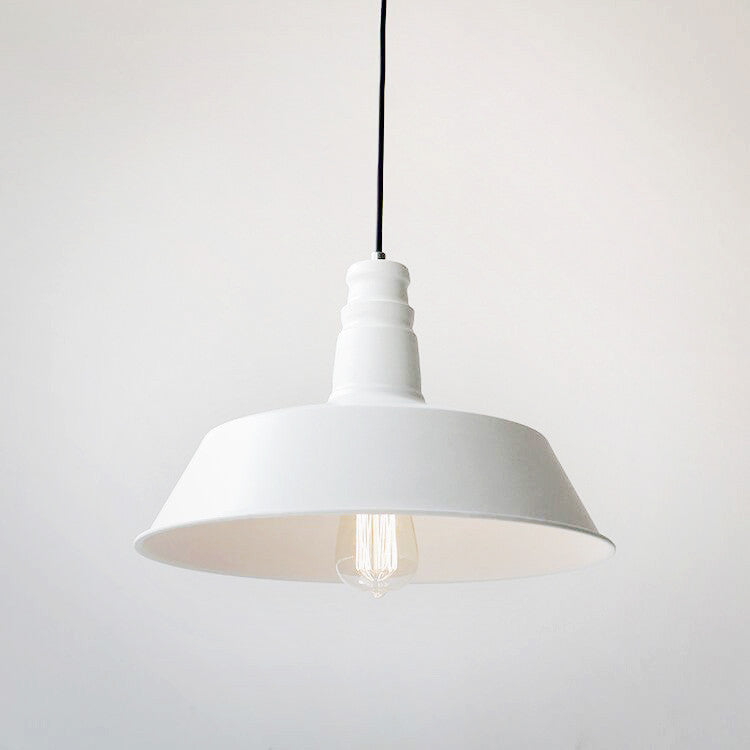 Vintage Industrial Pendant Light In White