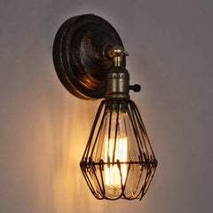 Wire Cage Rustic Industrial Vintage Wall Light