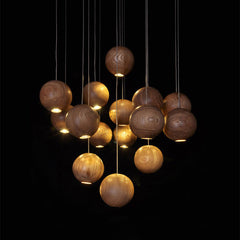 wooden orb Modern Contemporary Chandelier. Ceiling Light