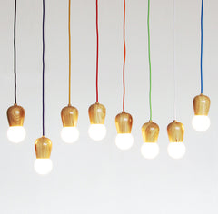 Wooden Socket With Braided Cable Pendant Ceiling Light
