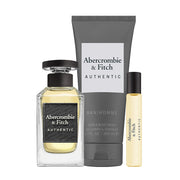 ABERCROMBIE & FITCH-AUTHENTIC FOR HIM GIFT SET EAU DE TOILETTE 100ML +15ml TRAVEL SPRAY+200ml HAND & BODY WASH