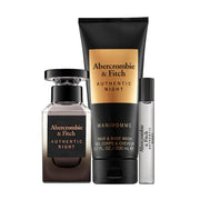 ABERCROMBIE & FITCH-AUTHENTIC NIGHT FOR MEN GIFT SET EAU DE TOILETTE 100ML +15ml TRAVEL SPRAY+200ml HAND & BODY WASH