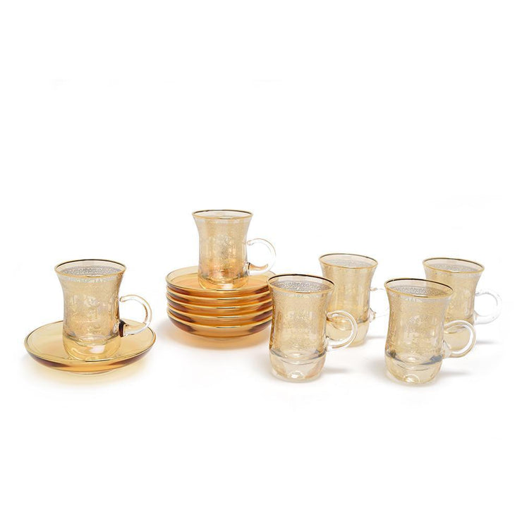 Combi Annette Tea Cup and Saucer Set - Amber, 12 Piece - G789/1Z-AM/35 - Jashanmal Home