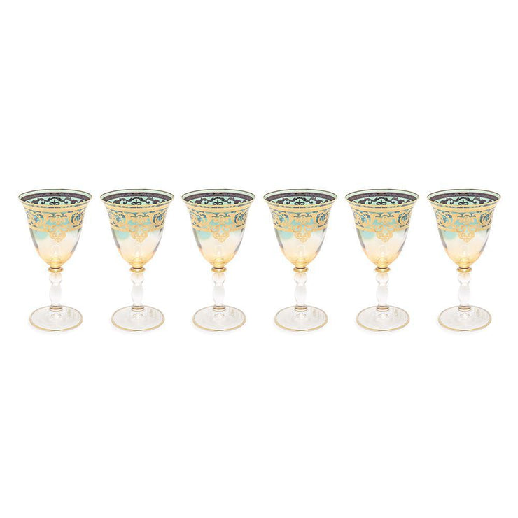 Combi Geneva Goblet Set - Amber and Green, 260 ml, Large, 6 Piece - G694Z-AMGRN/96 - Jashanmal Home