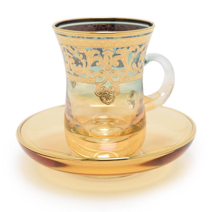 Combi Geneva Tea Cup and Saucer Set - Green and Amber, 12 Piece - G694Z-AMGRN/35 - Jashanmal Home