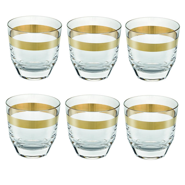 AVENUE GOLD SET 6 WHISKY TUMBLER CLEAR GOLD DECORATION CL.32.5