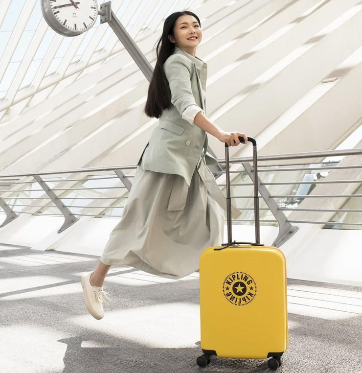 Kipling-Curiosity S-Small cabin size wheeled luggage-Vivid Yellow Nc-I3024-51J