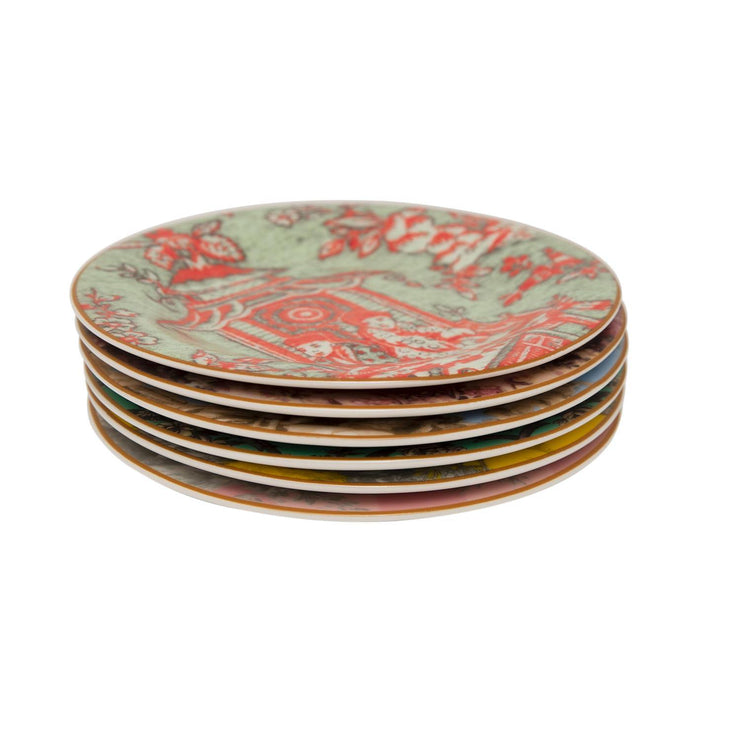 L'atelier FB Toile De Jouy Coupe Shape Round Cookies Plate Set - 16 cm, 6 Pieces - TC 4718 010